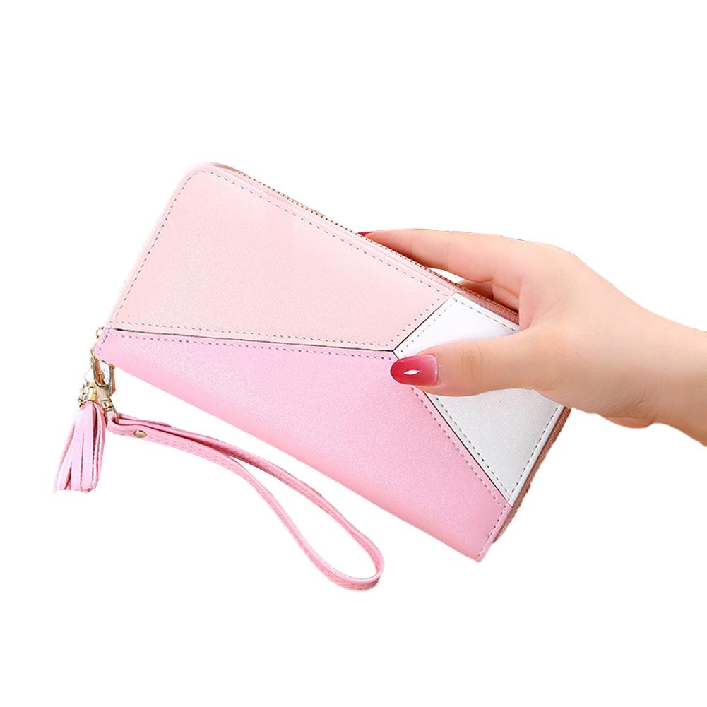 Women Wallet Long PU Leather Purse ID Bank Card Cellphone Coin Holder Zipper Hand Bag Pink