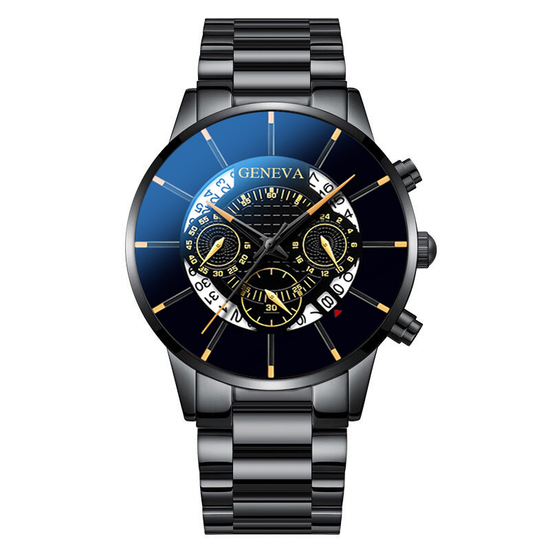 Fashion Men  Watch 3-colors Steel Bracelet Round Dial Plate Multifunction Watch Black belt black shell black surface gold needle