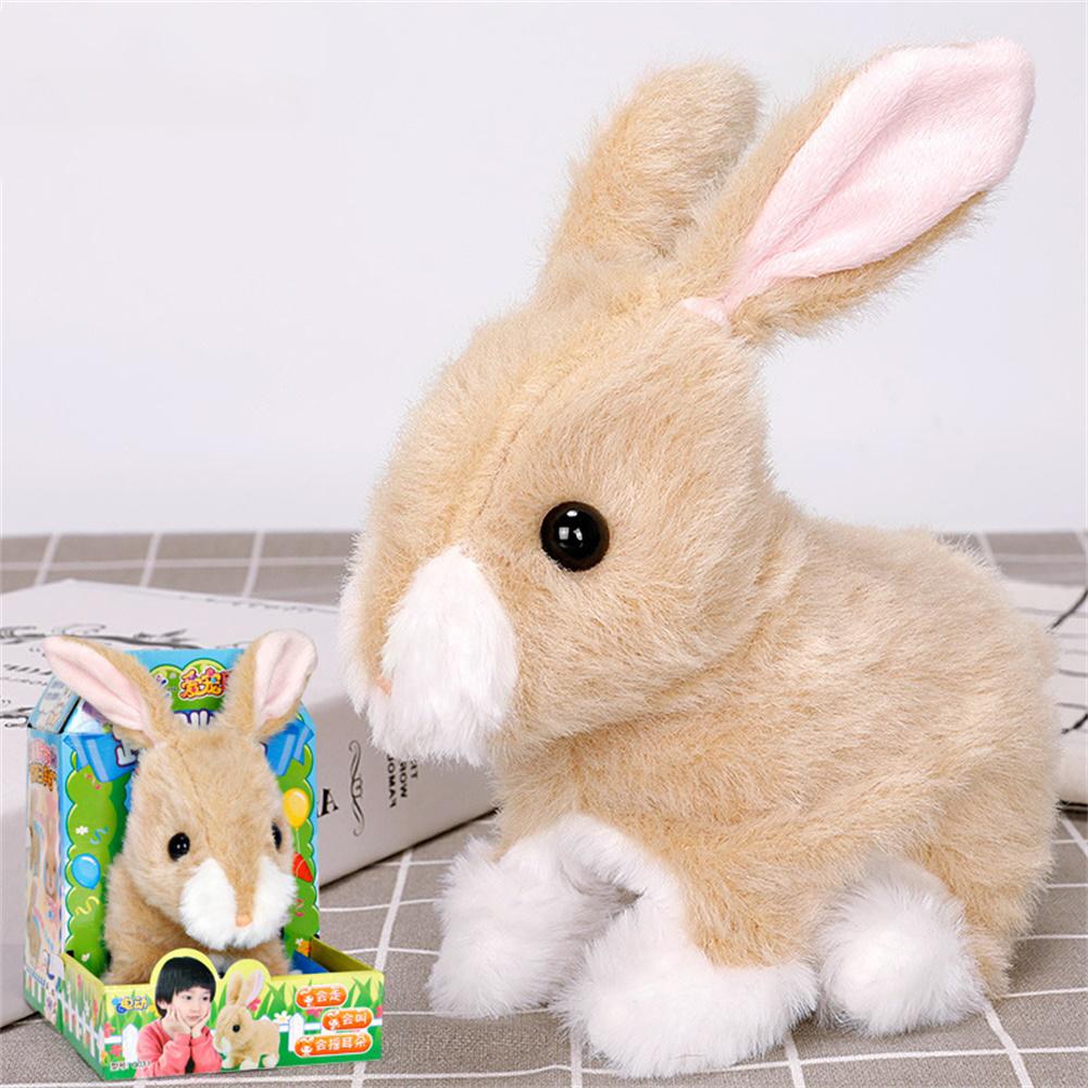 Dog Shape Electric  Plush  Toy Cute Simulation Puppy Plush  Toys Smart Robot  Dog Brown rabbit