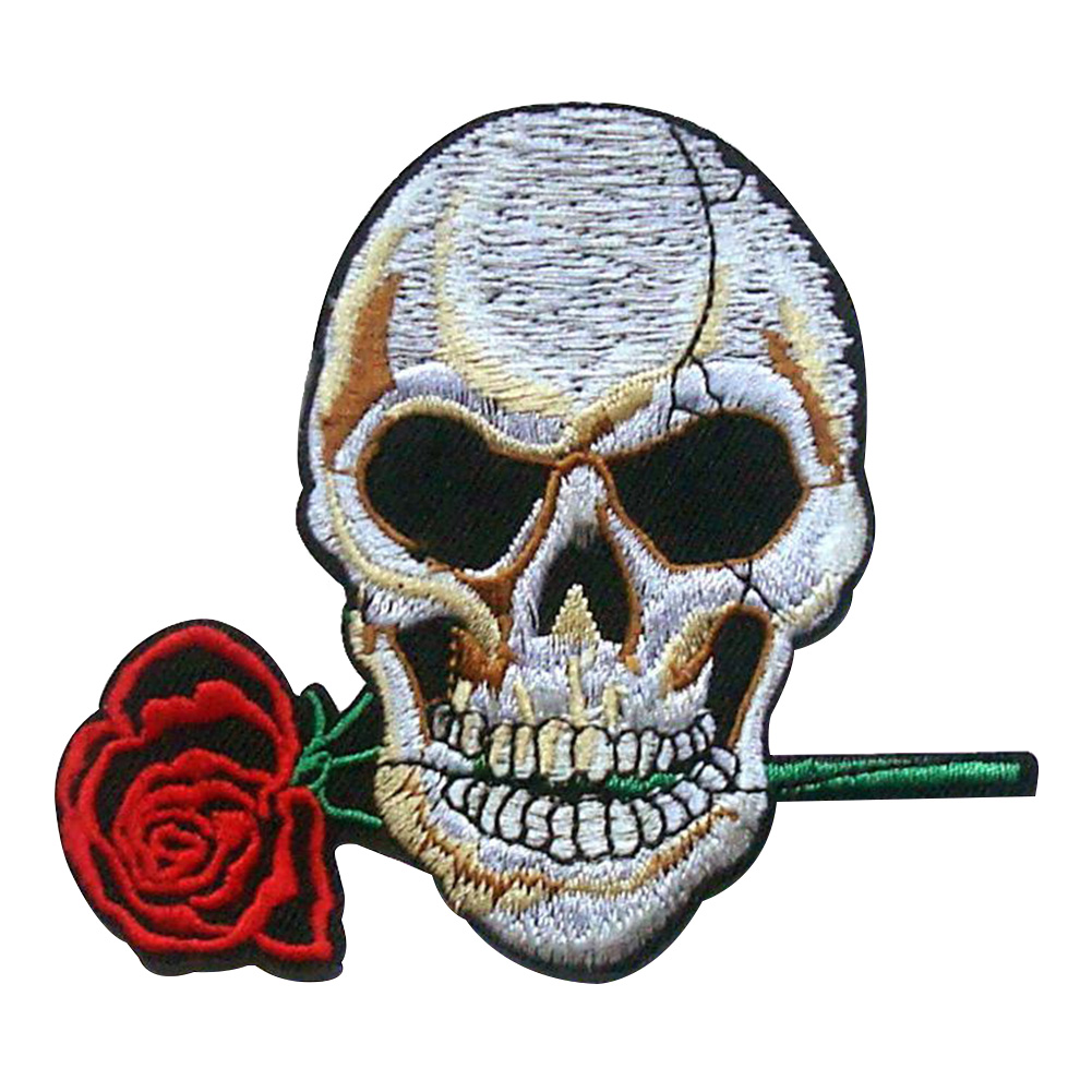 Unique Skull Clothes Patch Exquisite Tailoring Accessories Armband Clothing Bag Hat Decoration 9*6cm_skull with rose