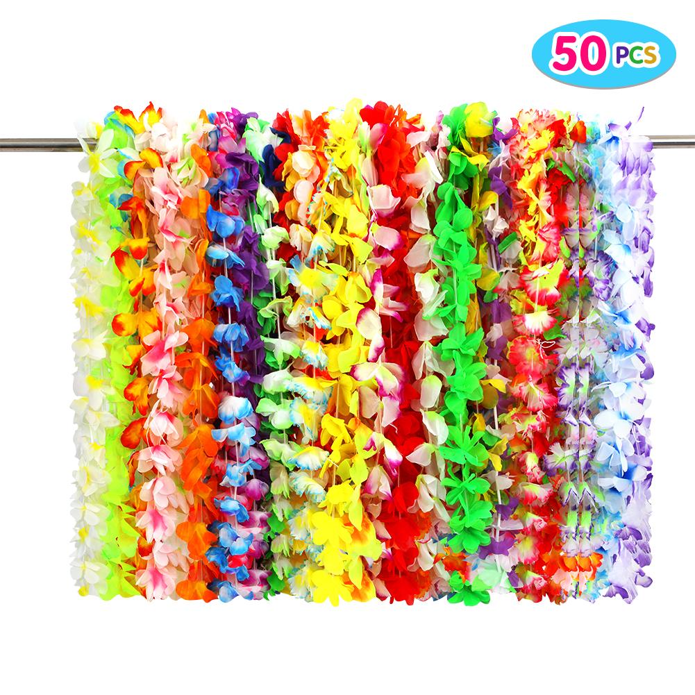 Twister.CK 50PCS Tropical Hawaiian Luau Flower Lei Party Favors Supplies Decorations Toy Set