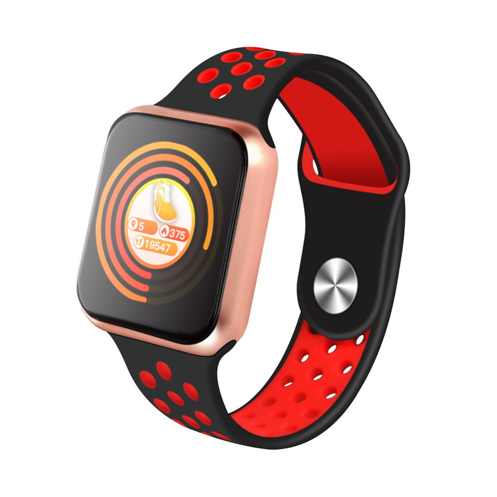 F9 Smart Bracelet Full Color Screen Touch Smartwatch Multiple Motion Patterns Heart Rate Blood Pressure Sleep Monitor  Gold shell black red belt