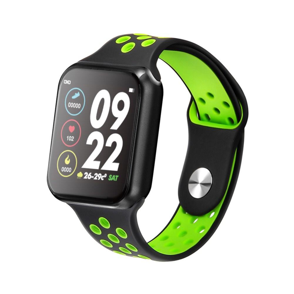 F9 Smart Bracelet Full Color Screen Touch Smartwatch Multiple Motion Patterns Heart Rate Blood Pressure Sleep Monitor  Black shell black green belt