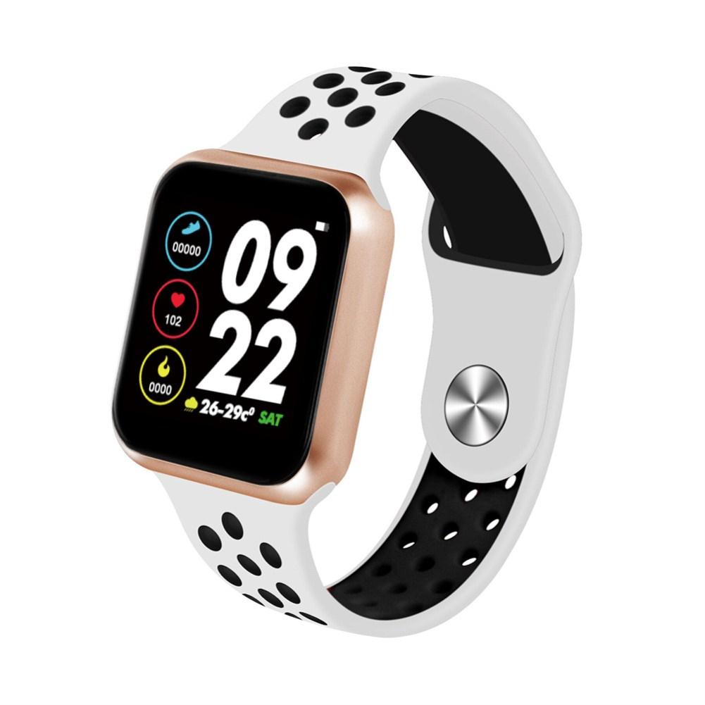 F9 Smart Bracelet Full Color Screen Touch Smartwatch Multiple Motion Patterns Heart Rate Blood Pressure Sleep Monitor  Gold shell white black belt