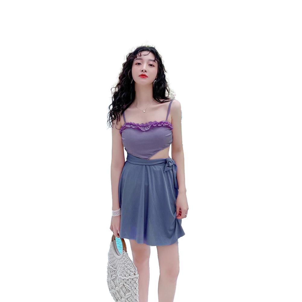 Women  Swimsuit Flounces Top Edge Conservatively Slimming Sling Swimwear Purple_L