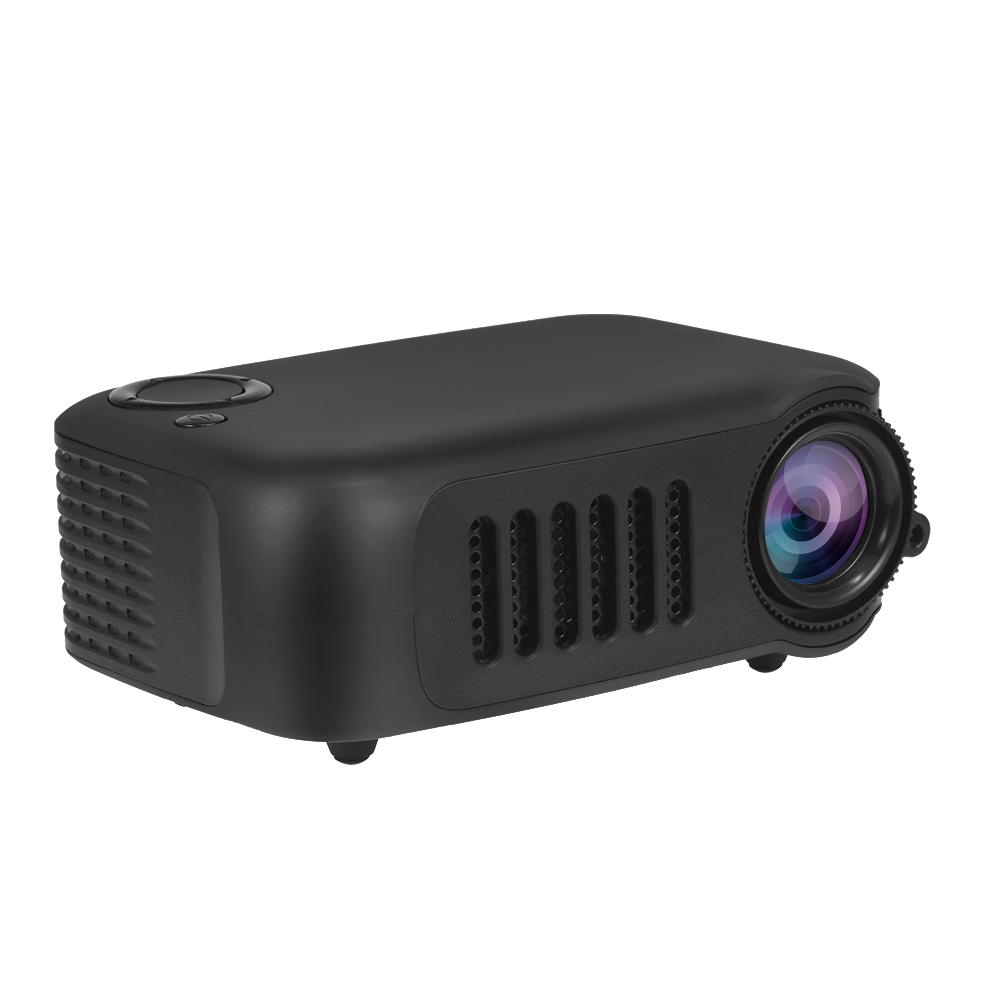 A2000 Mini Portable Projector 800 Lumen Supports 1080P LCD 50,000 Hours Lamp Life Home Theater Video Projector Support Power Bank black