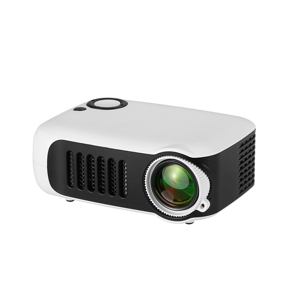 A2000 Mini Portable Projector 800 Lumen Supports 1080P LCD 50,000 Hours Lamp Life Home Theater Video Projector Support Power Bank white