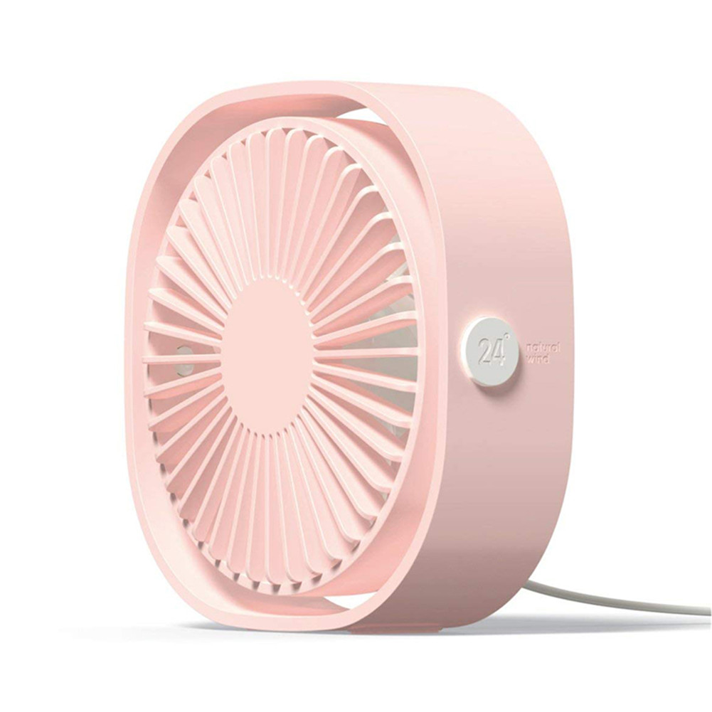 3 Speeds Mute USB Fan 360Degree Rotating Adjustable Portable Cooling Fan for Office Travel Pink