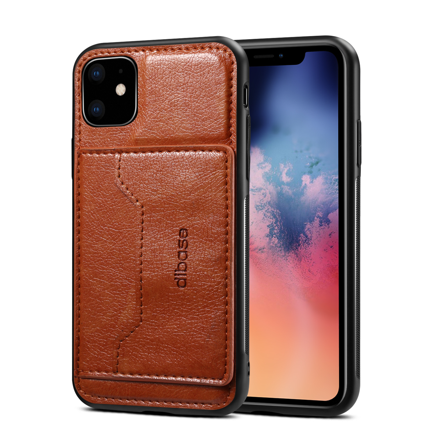 For iPhone 11/11 Pro/11 Pro Max Cellphone Smart Shell 2-in-1 Textured PU Leather Shock-Absorption Anti-Fall Card Holder Stand Function Phone Cover brown