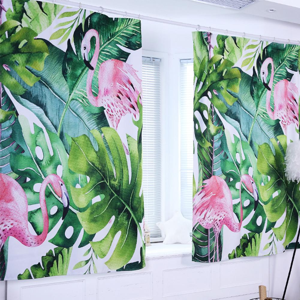 Nordic Style Digital Printing Window Curtain for Children Bedroom Living Room Decor Flamingo_0.8*1 meter high hook