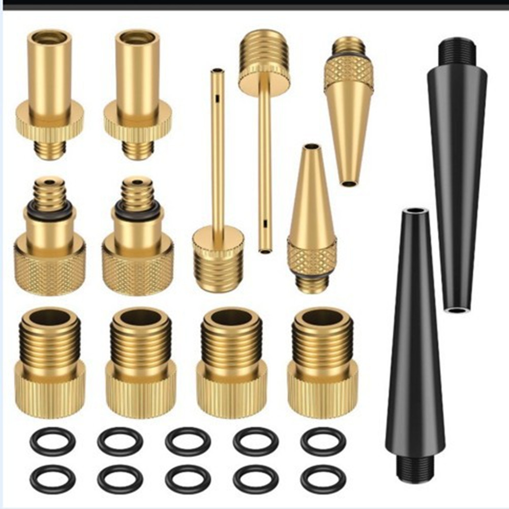 Top-ranking Valve Adaptors Set for SV AV DV Bicycle Inflator With apron 24 pieces