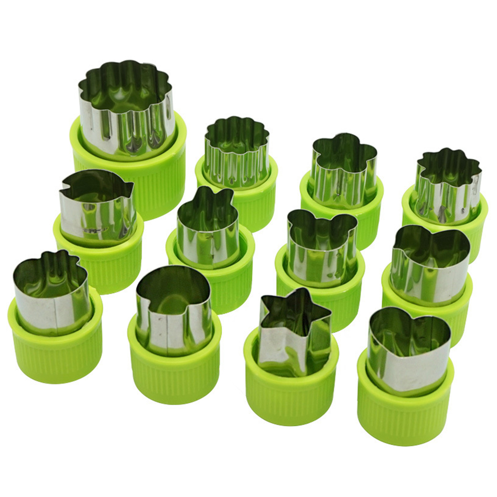 12Pcs Stainless Steel Vegetable Fruit Cutter Mold with Hand Guard Handle green