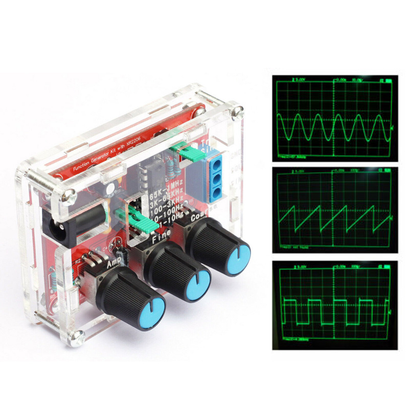 XR2206 Function Generator DIY Kit Sine Triangular Square Output 1HZ-1MHZ Soldered + outer casing