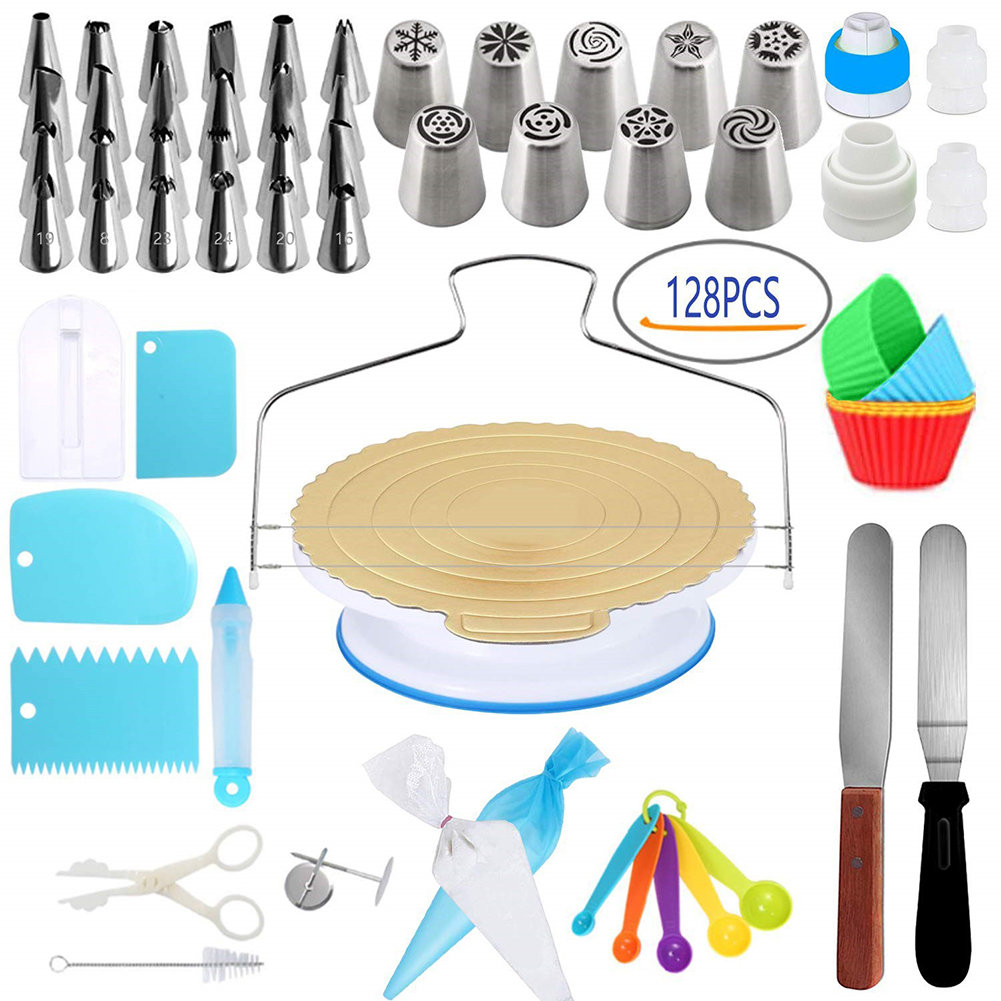 Anti-skid 128Pcs/Pack Cake Turntable Set  Fondant Tool Kitchen Dessert Baking Pastry Supplies Anti-skid turntable 128 sets