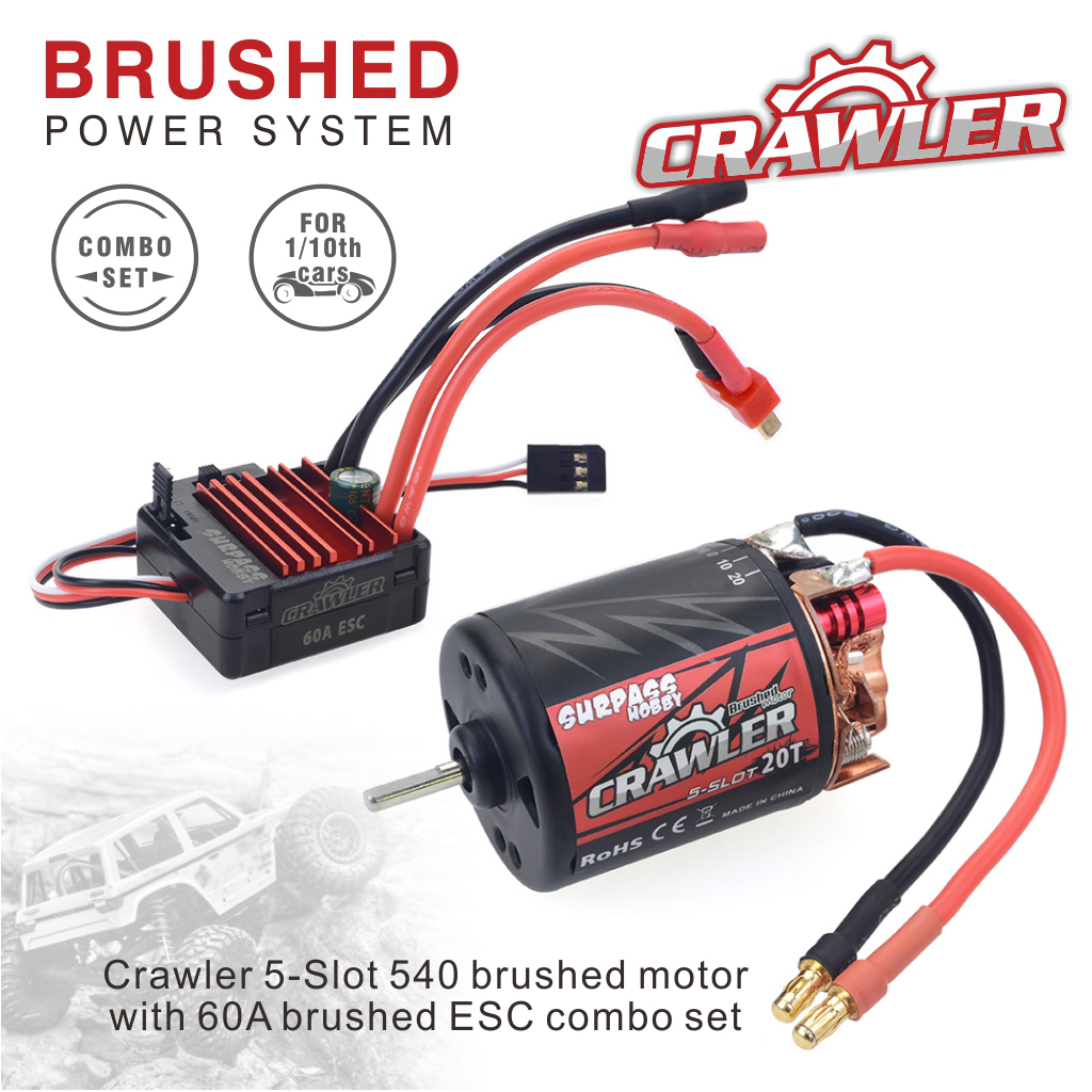 540 Brushed Motor 11T/13T/16T/20T 60A RC ESC Combo Set for Remote Control Redcat Volcano EPX Blackout XTE Traxxas TRX-4 11T KSY0057