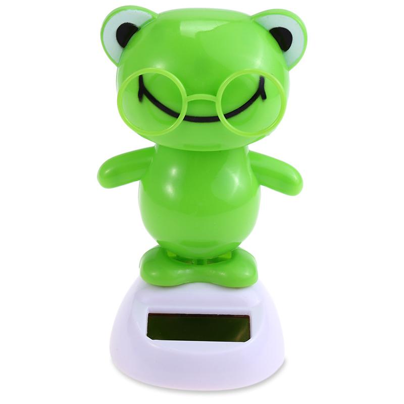 Solar Powered Swing Animal Toys Lovely Novelty Solar Shaking Head Frog Shark Toy Gifts for Children