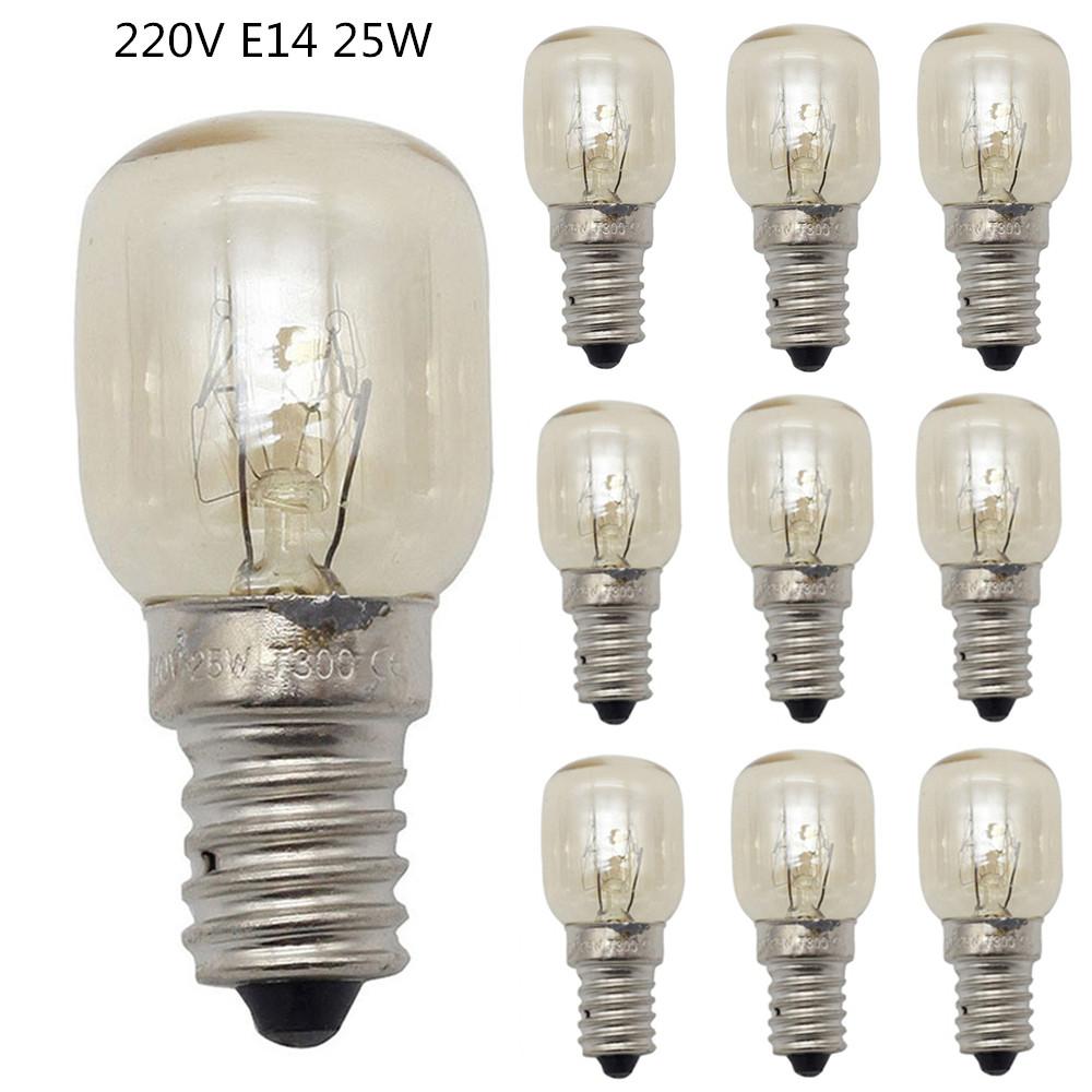 10Pcs 15W/25W E14 220V 300 Degree High Temperature Resistant Microwave/Oven Bulb Silver