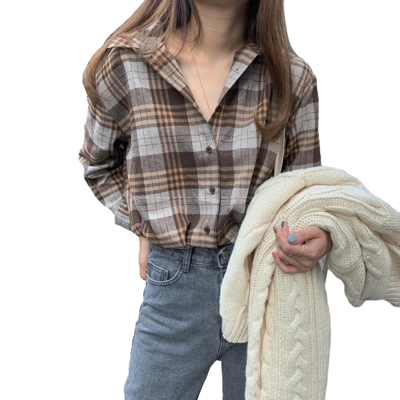 Women Shirt Plaid Shirt With Long Sleeves Lapel Tops Spring and Autumn vintage plaid shirt gray_M