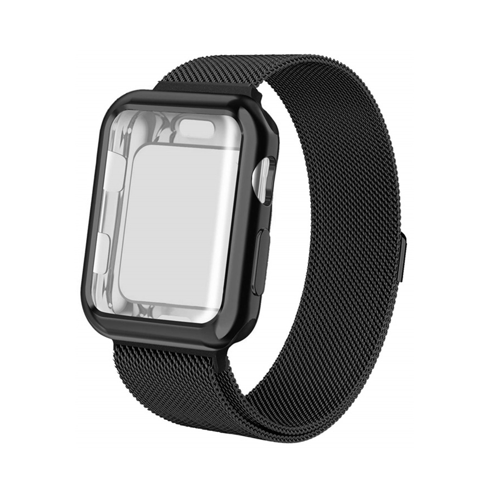 For Apple watch4/3/2/1 Milanese Full Cover Electroplating Shell Iwatch Band Watchband Set Black 38mm