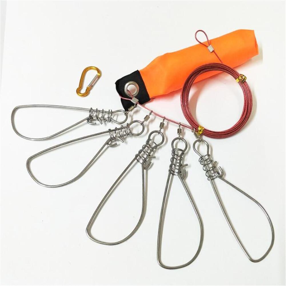 Stainless Steel Lure Wire Fish Lock 5M with Buoyancy Rod Fish Buckle Fishing Gear 5 m + 5 buckle + buoyancy rod