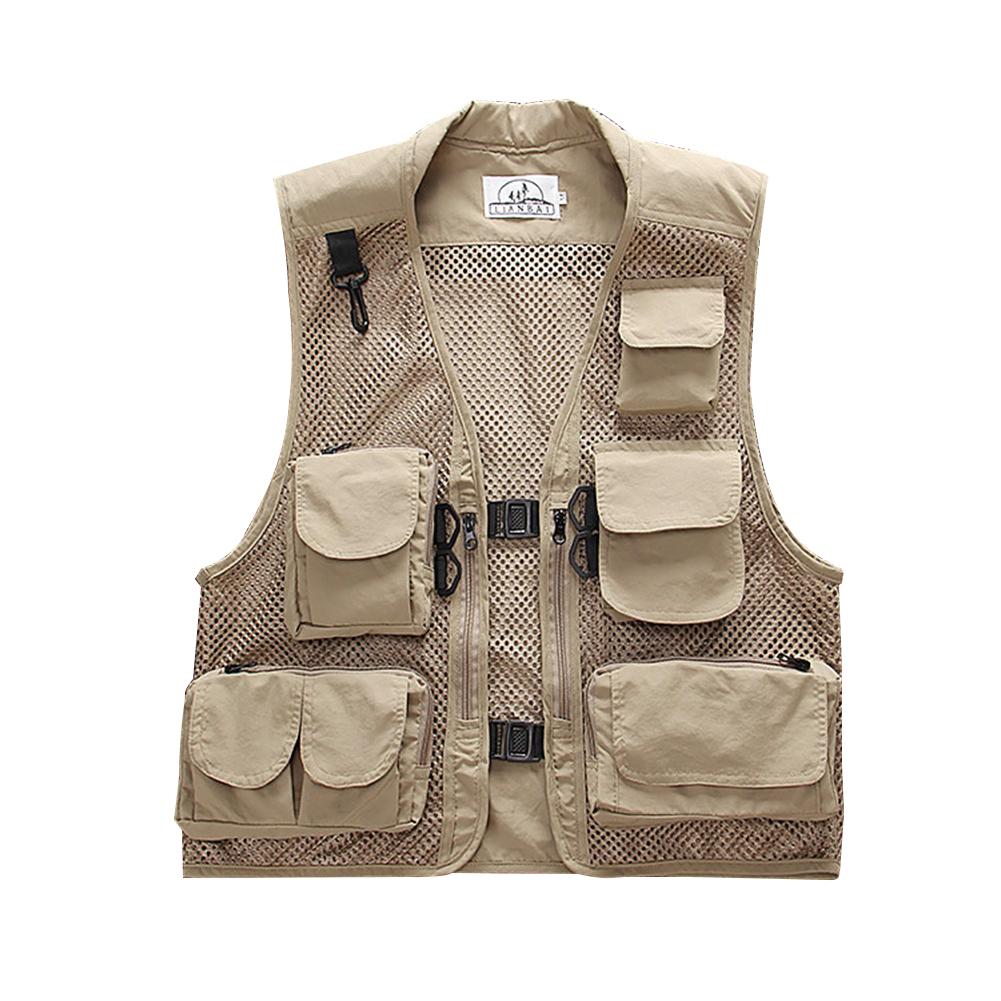 Men Summer Casual Camo Vest Multi-pocket Breathable Mesh Hiking Hunting Vest Professional Photography Jacket Beige_L