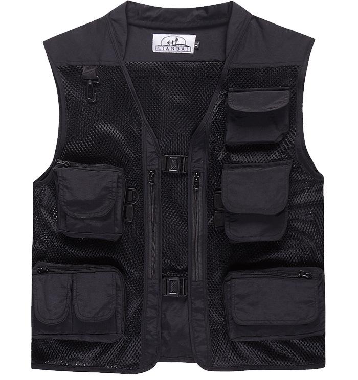 Men Summer Casual Camo Vest Multi-pocket Breathable Mesh Hiking Hunting Vest Professional Photography Jacket black_L