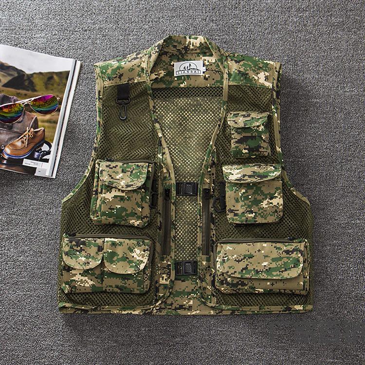 Men Summer Casual Camo Vest Multi-pocket Breathable Mesh Hiking Hunting Vest Professional Photography Jacket Green Camo_XXXL
