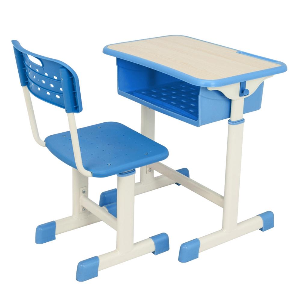 [US Direct] 1 Set Student  Table  Chair  Set  B White Paint Wood Grain Surface Blue Plastic[60x40x(63-75)cm] Blue