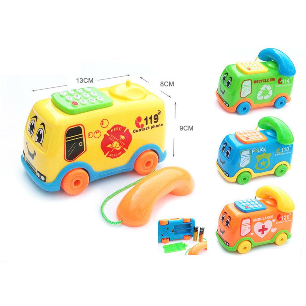 Children Cute Cartoon Music Phone/Bus Mini Funny Sound Light Educational Toy Smile bus