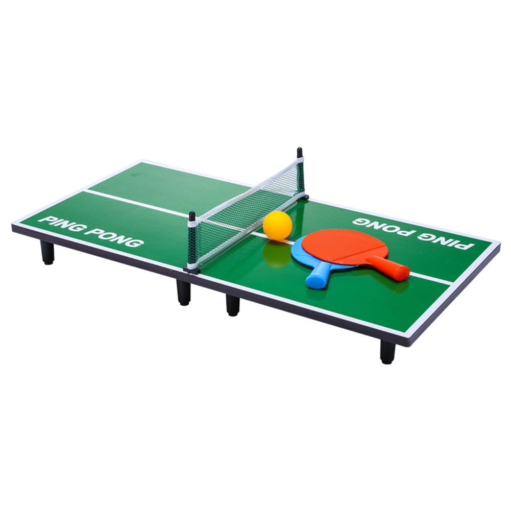 Mini Table Tennis Set Foldable Wooden Table Ping Pong Racket Portable Indoor Board Game for Kids Adult As shown