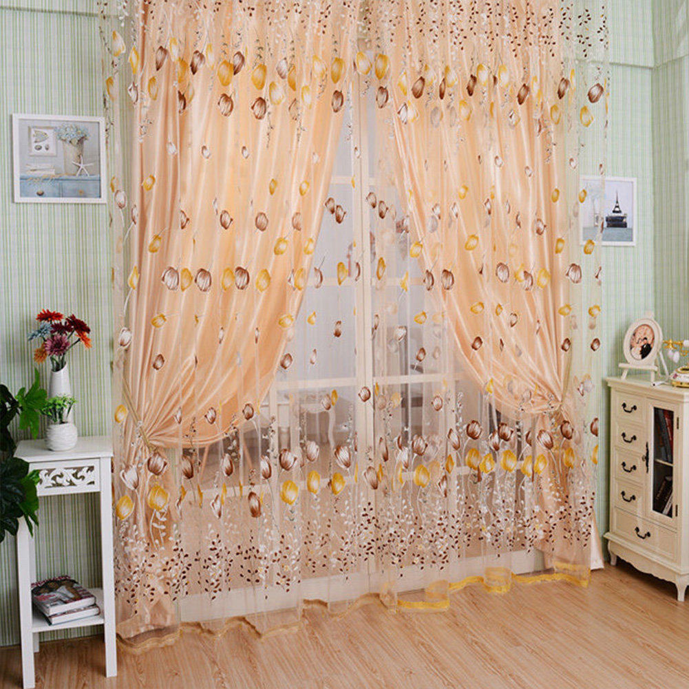 Romantic Tulips Window Voile Curtain Creative Floral Translucent Tulle Door Drape - 3 Colors for Choice coffee_1x2m