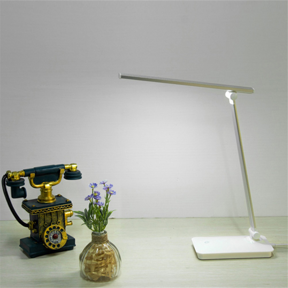 LED Desk Lamp Eye-caring Table Lamps Dimmable Office Lamp with USB Charging Port Night Light Silver_Plug-in + usb line