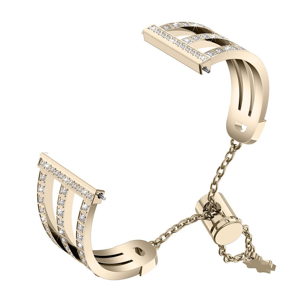 Metal Watch Strap Treble Diamante Strap for Fitbit versa 2 Vintage gold