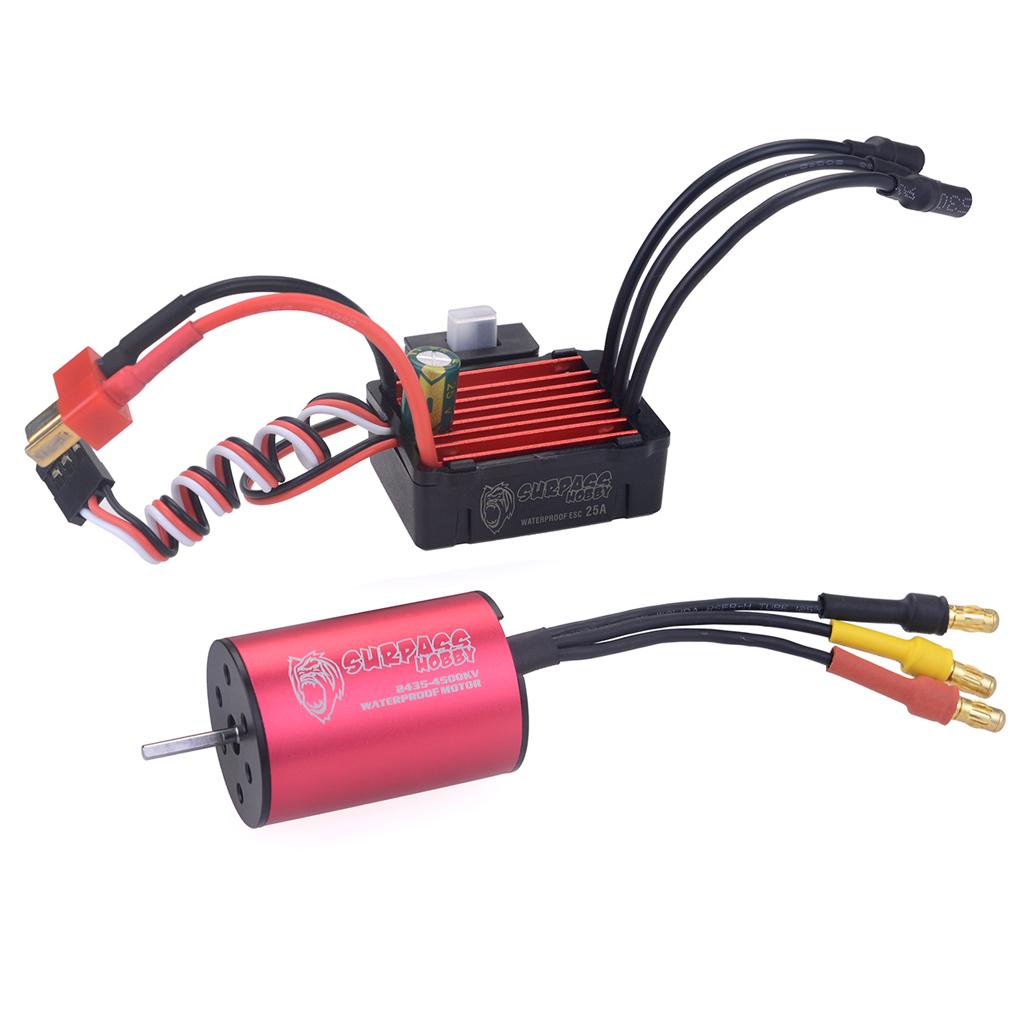 Surpass Hobby 2435 4500kv Brushless Motor + 25A Brushless Speed Controller ESC Waterproof 2S for 1/16 RC Car  red
