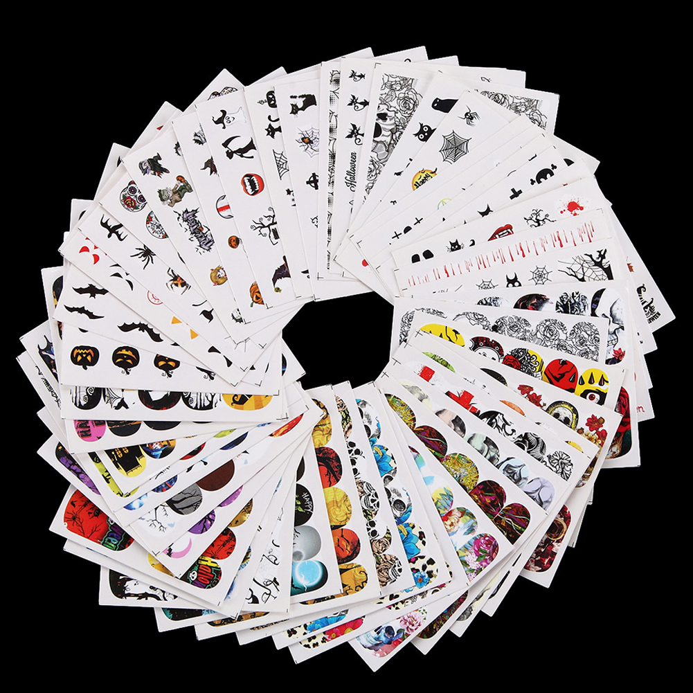 48pcs Halloween Christmas DIY Nail Wrap Stickers Nail Art Decorations Skull Transfer Decals Accessories Tip Manicure Tool  Halloween sticker