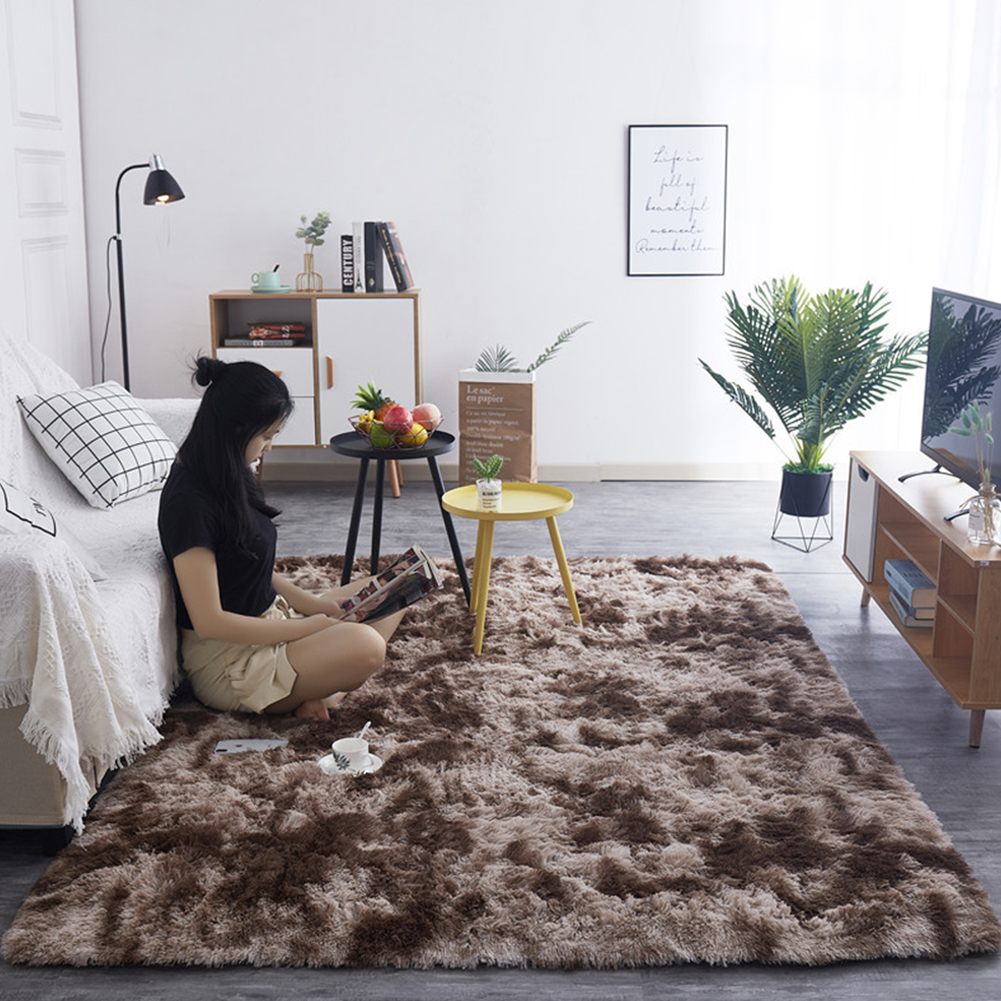 Simple Plush Carpet Bedroom Cute Bedside Blanket Nordic Living Room Sofa Coffee Table Mat Thick Mat Tie-dyed champagne_50*160 cm
