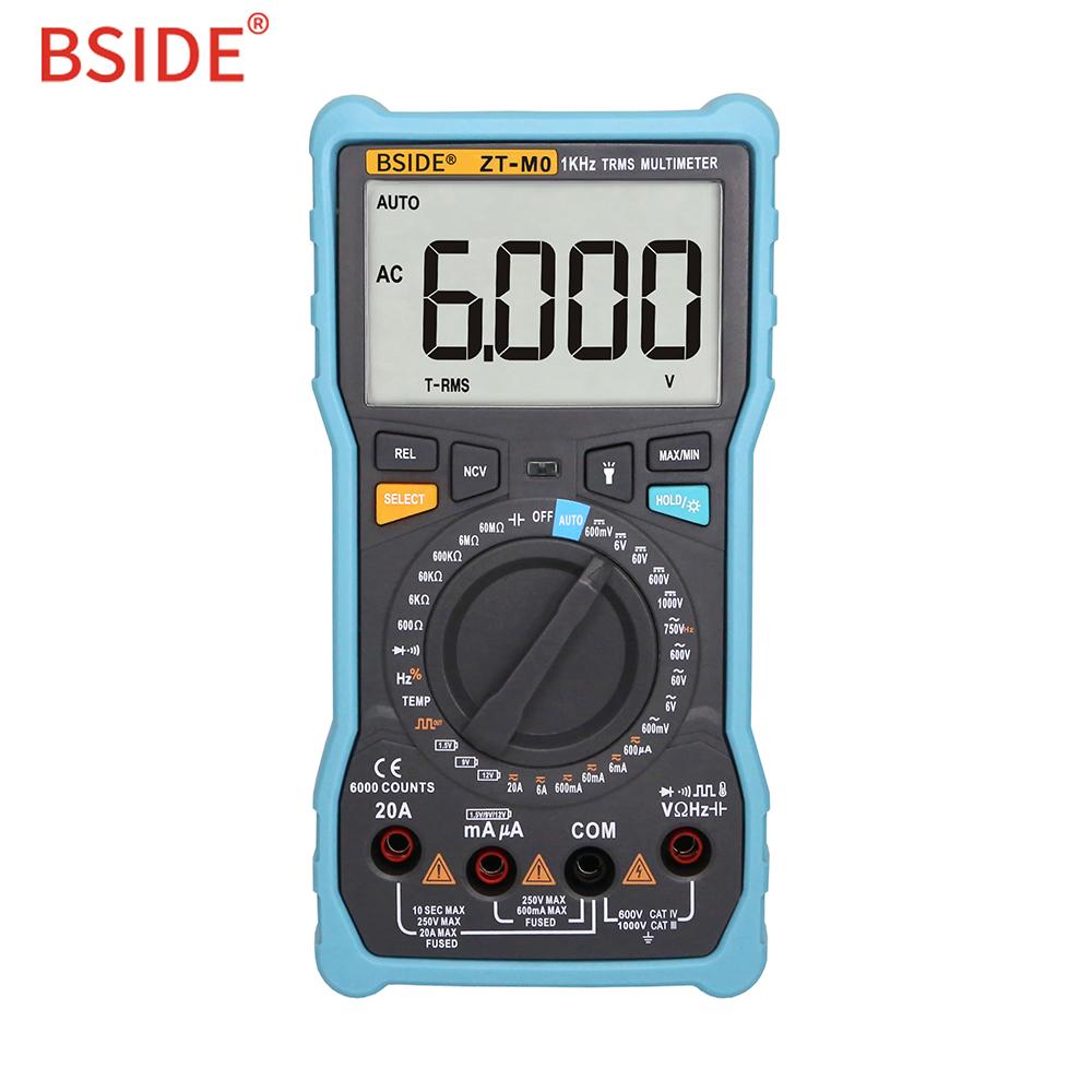 BSIDE ZT-M0 Smart Manual Digital Multimeter LCD Display 6000Counts Voltage Square Wave Output Capacitance Battery Tester DMM ZT-M0