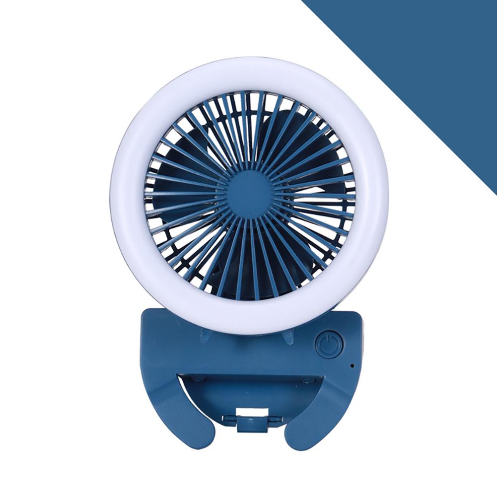 Portable Fan Mobile Phone Selfie Beauty Fill Light Fan with 3 Modes Speed Adjustable Dark blue_9.5cm * 9