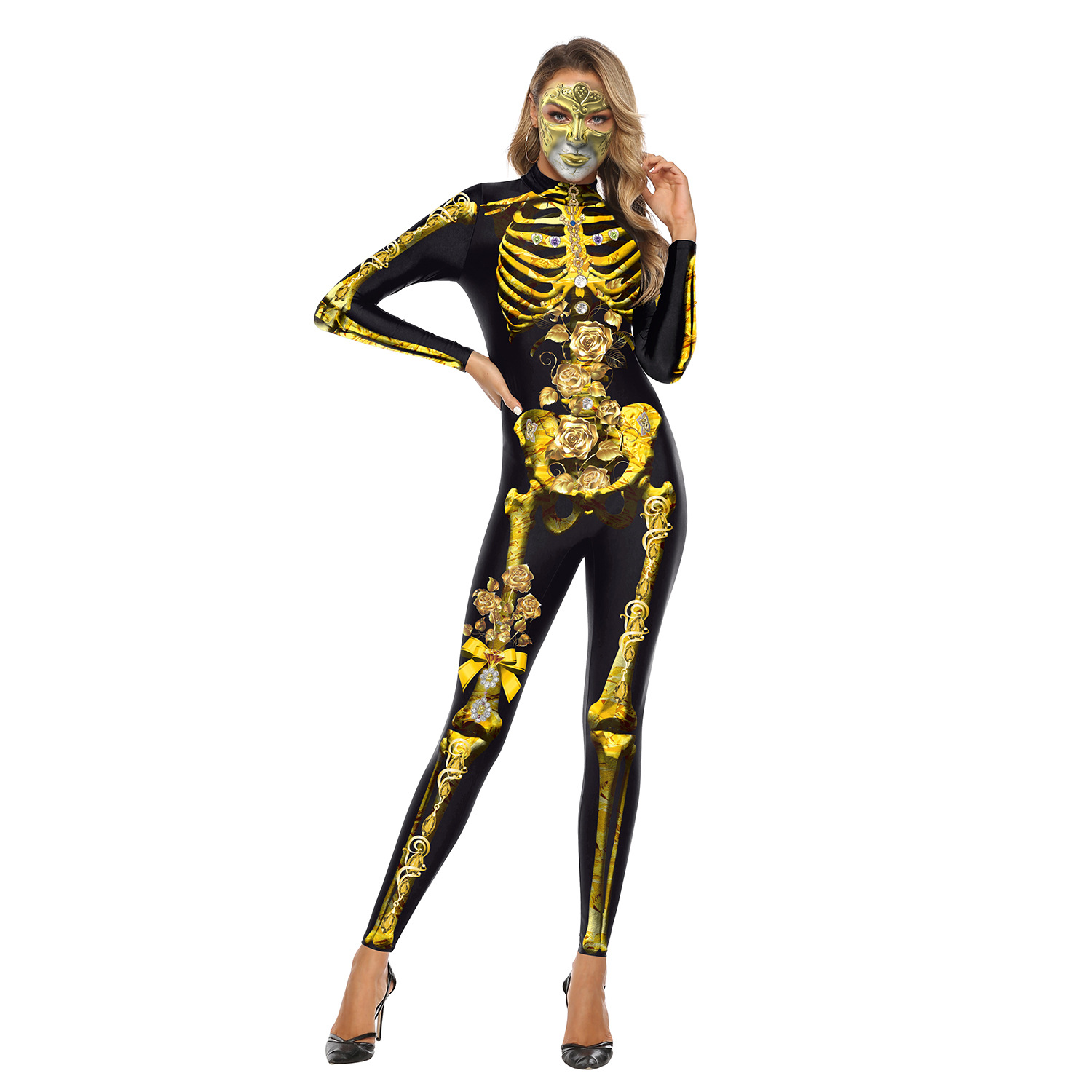 Female Skeleton Printing Jumpsuits Scary Cosplaying for Halloween Festival  WB142-001_XL
