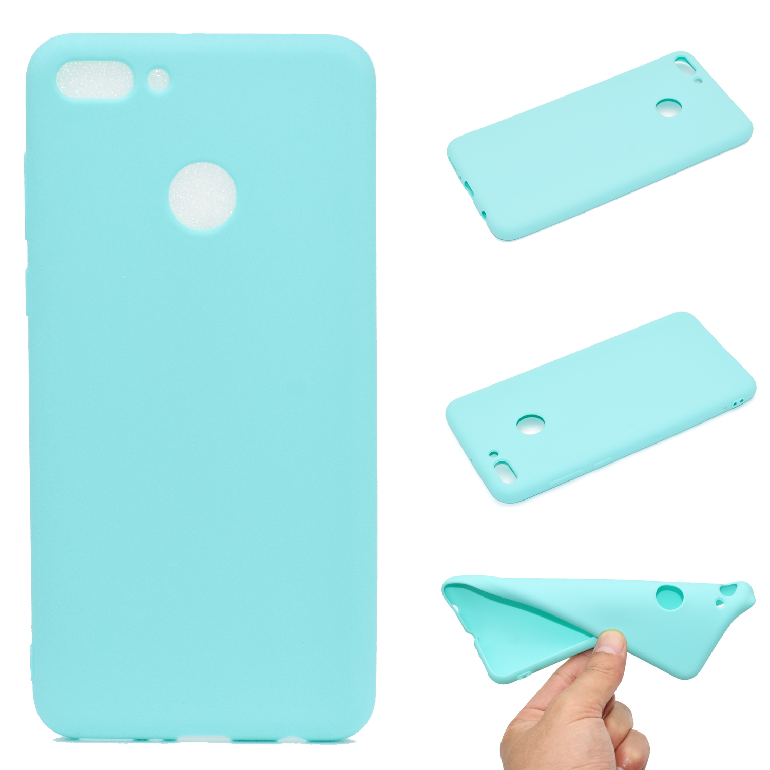 for HUAWEI Y9 2018 Lovely Candy Color Matte TPU Anti-scratch Non-slip Protective Cover Back Case Light blue