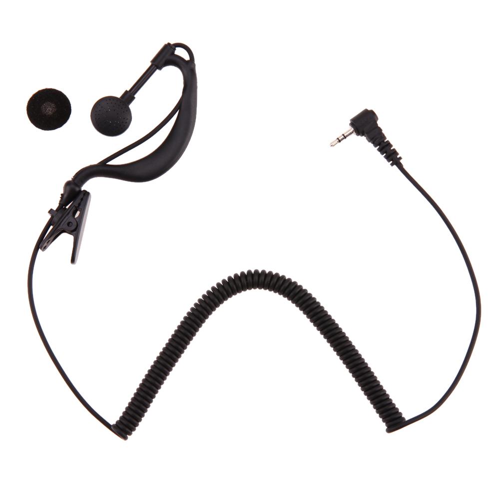 2.5mm Receiver Listen Only Single Ear Earphone Soft Flexible Ear Hook Earpiece Headset for Motorola Black