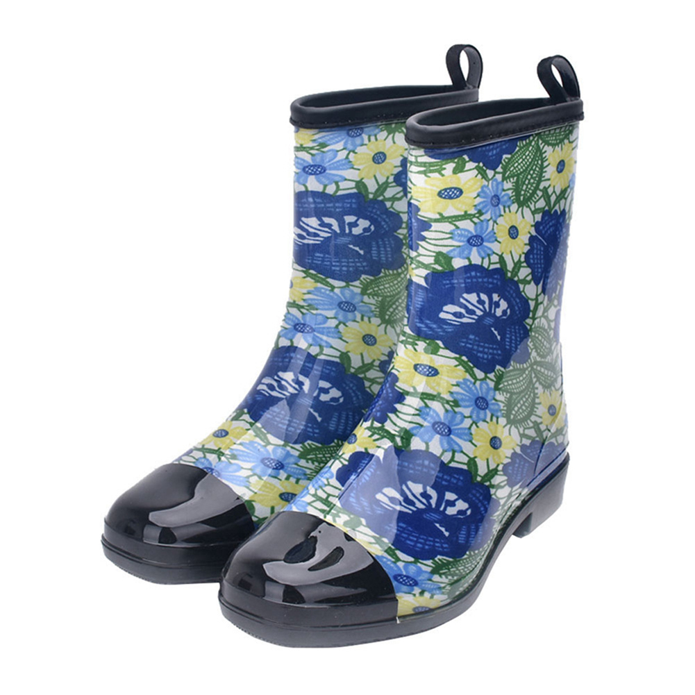 Fashion Water Boots Rain Boots Anti-slip Wear-resistant Waterproof For Women and Lady Blue_37