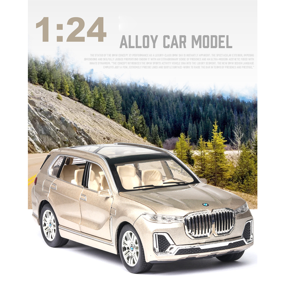 X7 High Simulation 1:24 SUV Sound Light Alloy Car Model Toy for Kids Gold