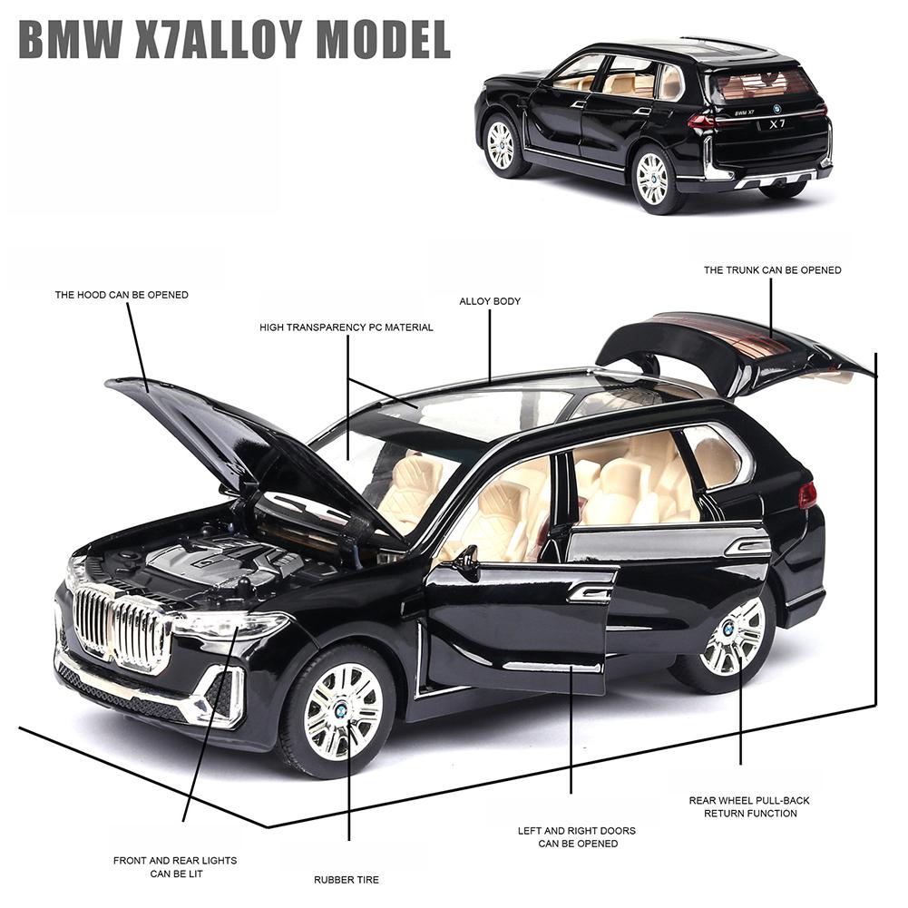 X7 High Simulation 1:24 SUV Sound Light Alloy Car Model Toy for Kids black