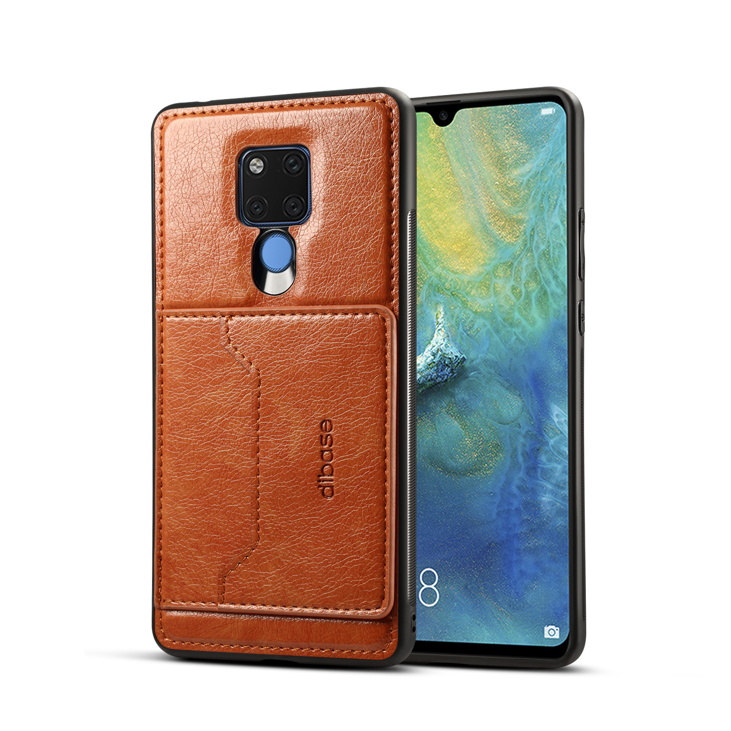 For HUAWEI MATE 20X 2 in 1 Retro PU Leather Wallet Stand Non-slip Shockproof Cell Phone Case brown