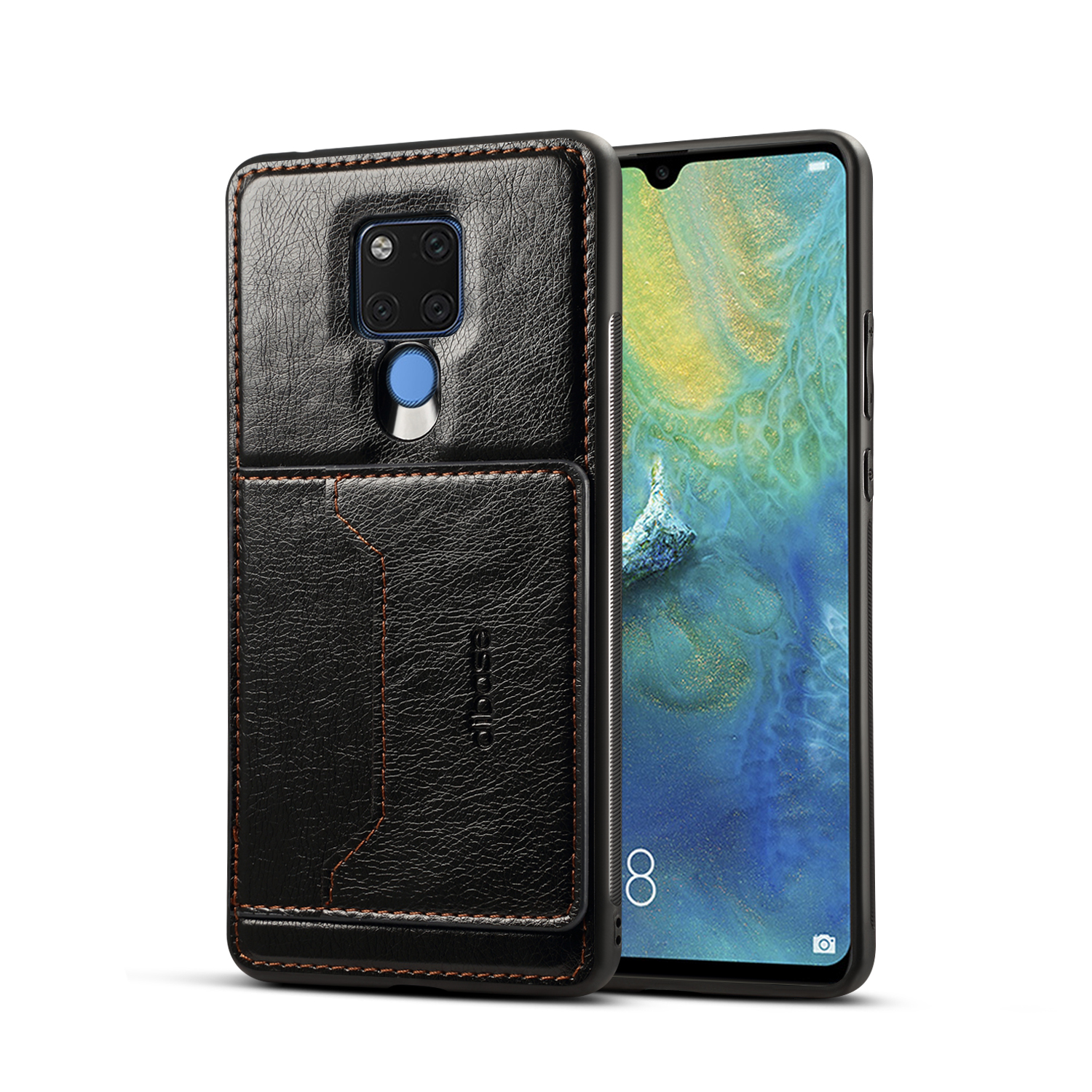 For HUAWEI MATE 20X 2 in 1 Retro PU Leather Wallet Stand Non-slip Shockproof Cell Phone Case black