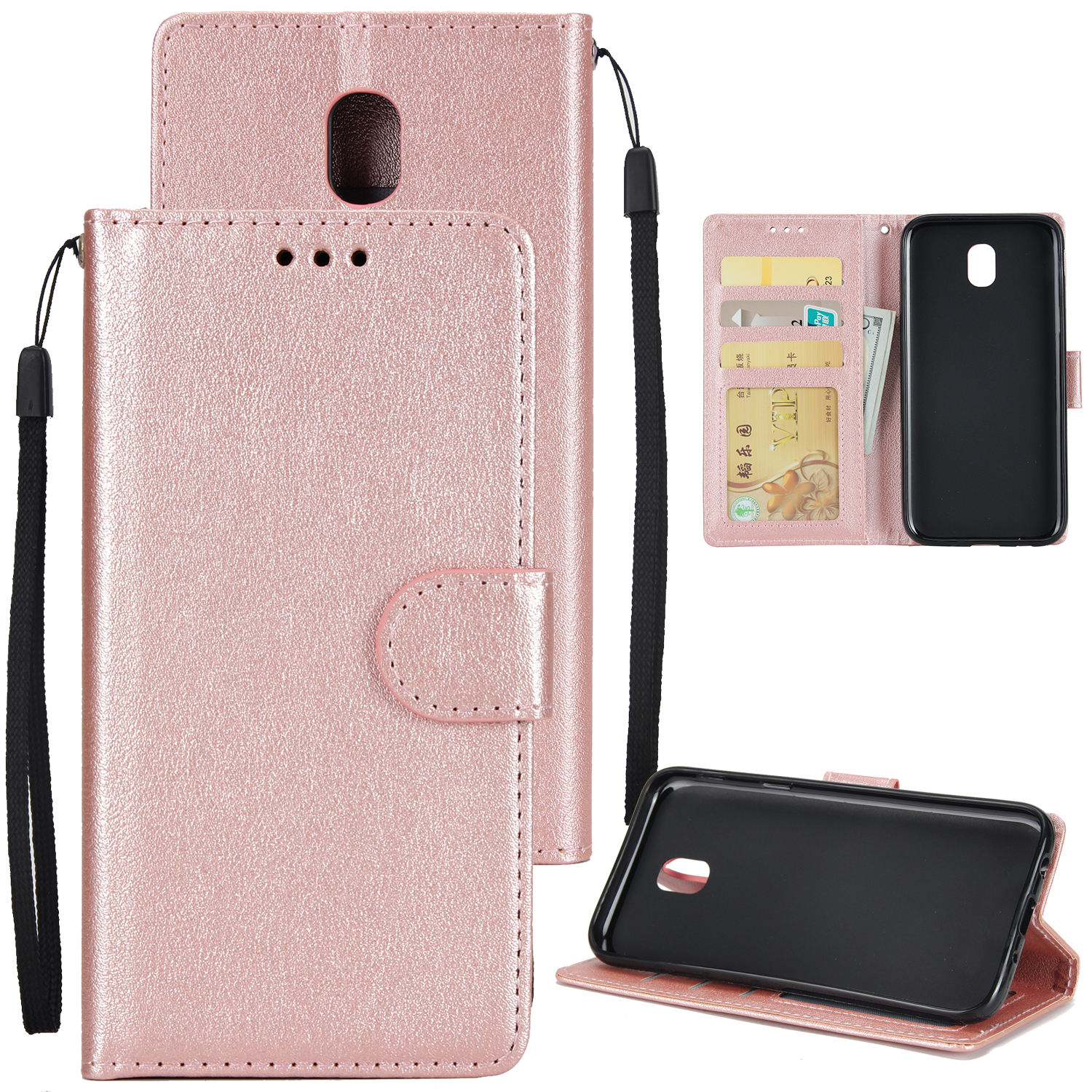 For Samsung J7 PLUS/J7+ Full Protective Clip Case Cover PU Stylish Shell with Card Slot Rose gold