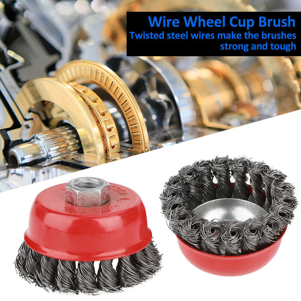 2Pcs M14 Crew Knot Wire Wheel Cup Brush Set for Angle Grinder Steel Wire Alloy Twisted Crimped Wire Brushes Kit 2pcs 75mm bowl brushes