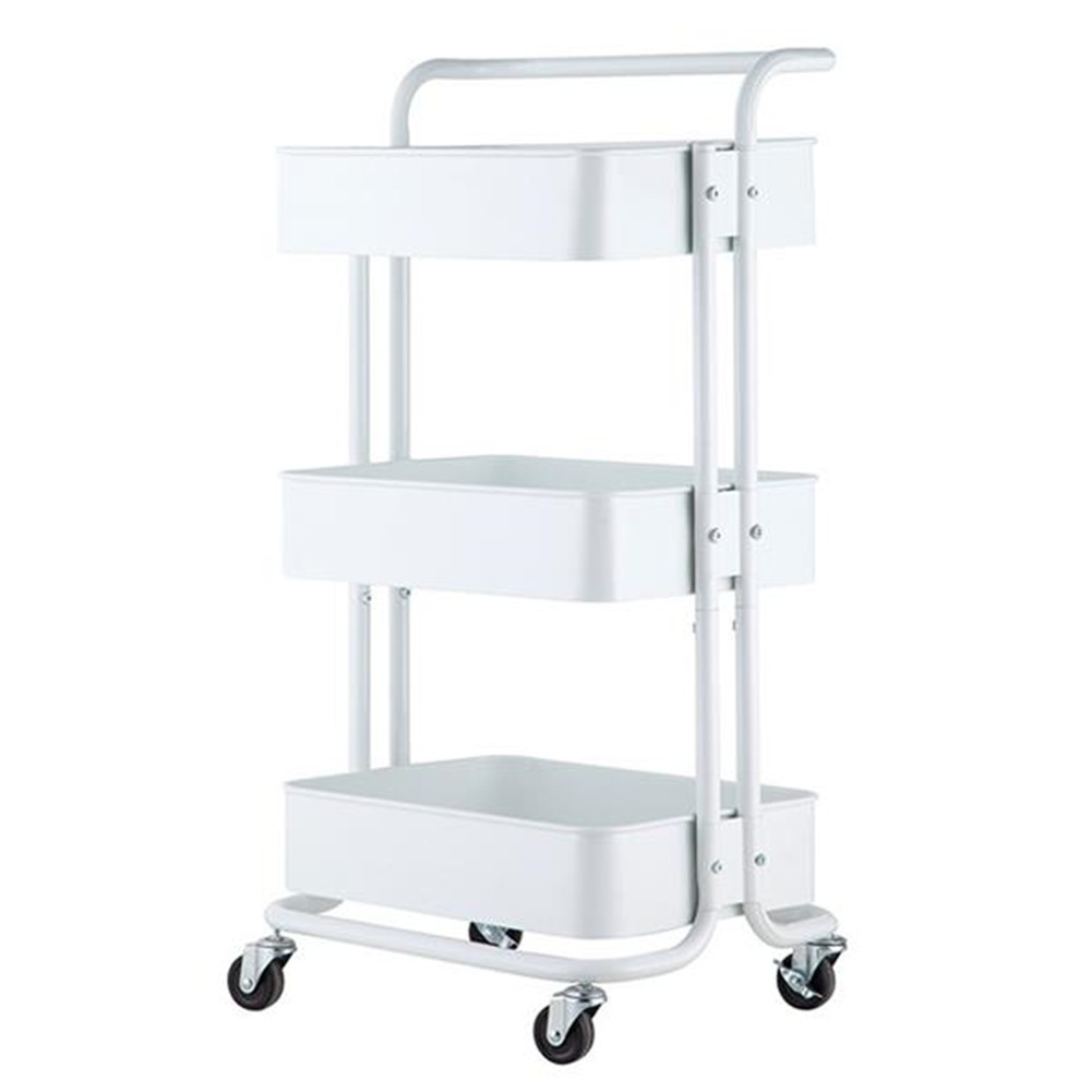 [US Direct] Widened  Cart 3-tier Multi-function Layer Cart-XM_4135 Moveable Storage Rack With Handle Ivory