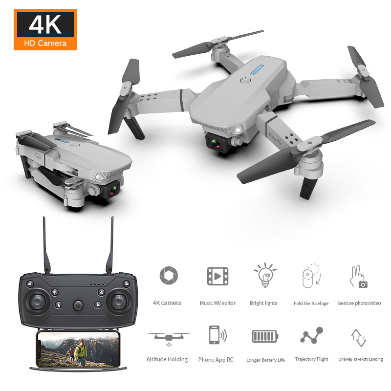 E88 Dual-lens Uav Foldable Aerial Photography Quadcopter With Fixed Height And Stiff Remote  Control  Aircraft Single lens 4k package white_3 battery